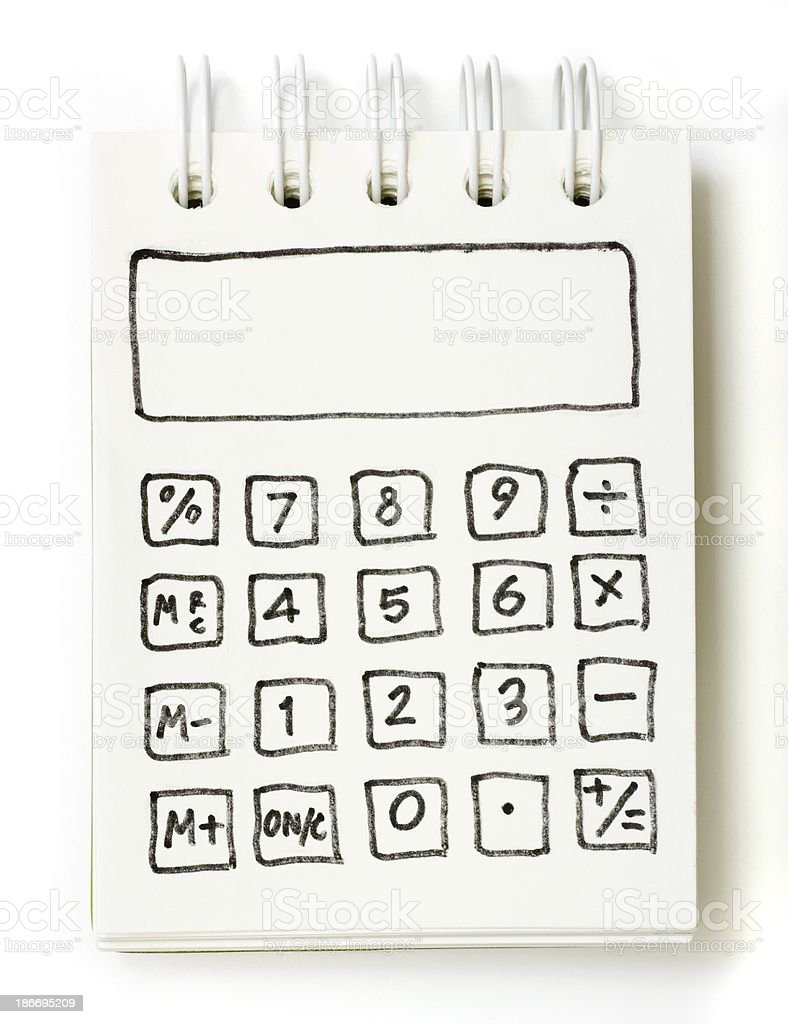 white note book drawing as a calculator royalty-free stock photo
