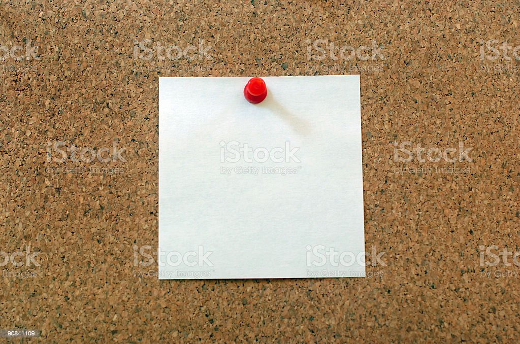 White note on cork-board royalty-free stock photo