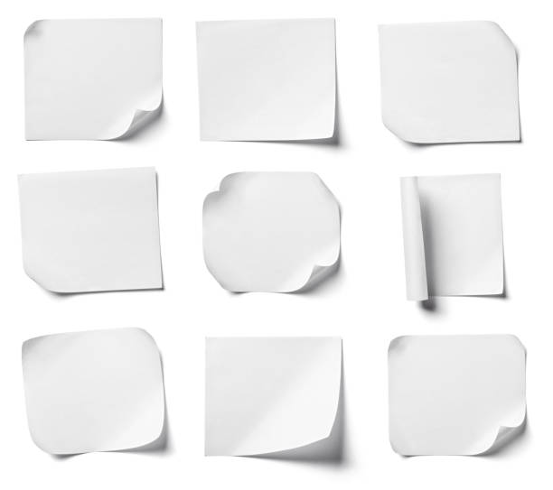 white note paper office business collection of  various white note papers on white background. each one is shot separately information sign stock pictures, royalty-free photos & images