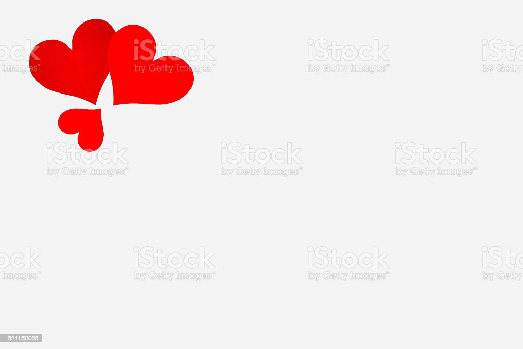 white note paper with red hearts stock photo