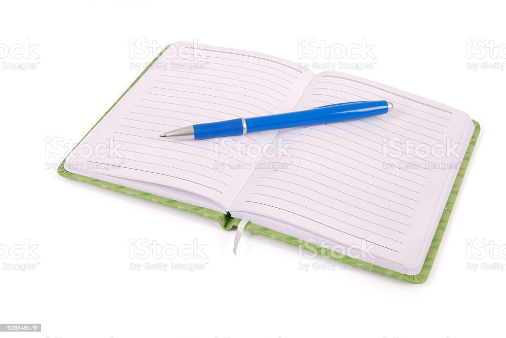 White notebook and blue handle stock photo