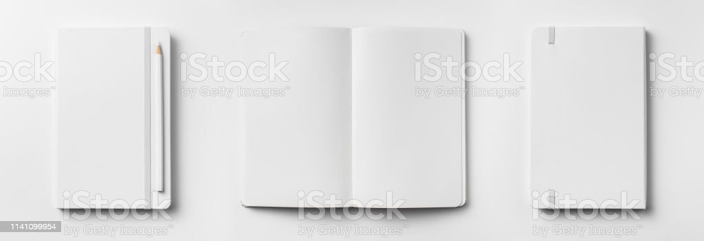 Design concept - top view of open and close white notebook with...