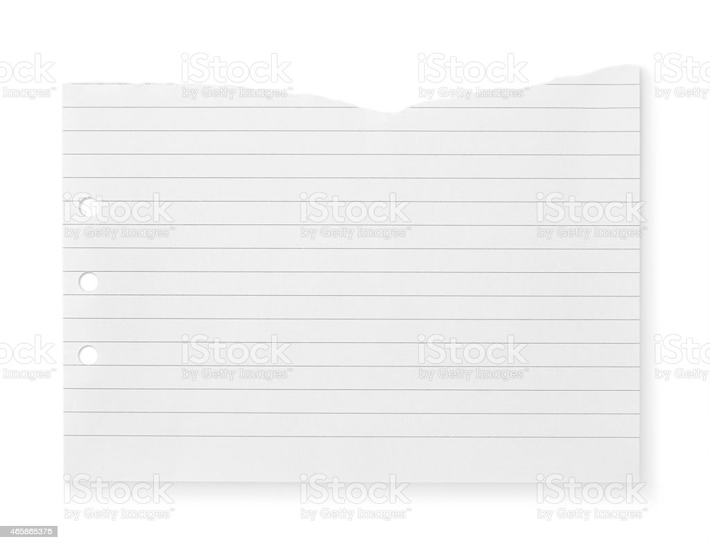 White notebook paper that's been torn stock photo