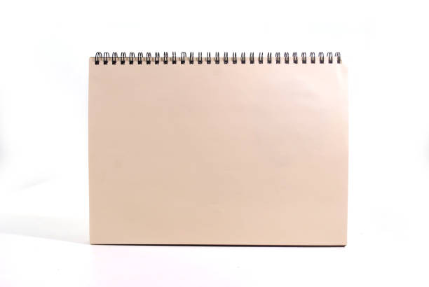 White notebook. Wood cover notebook isolated on white background.(with Clipping Path). apprise stock pictures, royalty-free photos & images