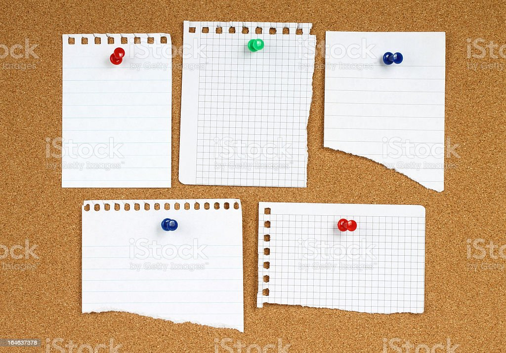 White notes with pins royalty-free stock photo