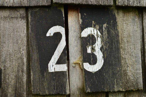 white number 23 on wood - number 23 stock photos and pictures