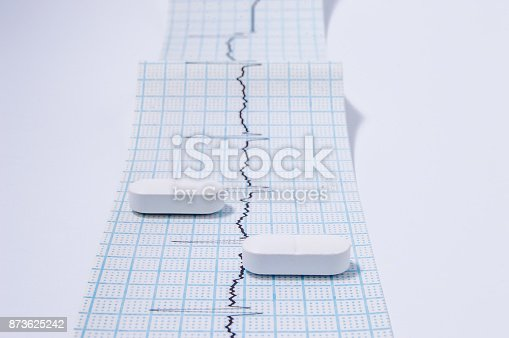 istock White oblong pills or tablets are on the tape with ambulatory electrocardiogram (EKG or ECG) records front view. One of the necessary medical examinations for physician in cardiology 873625242