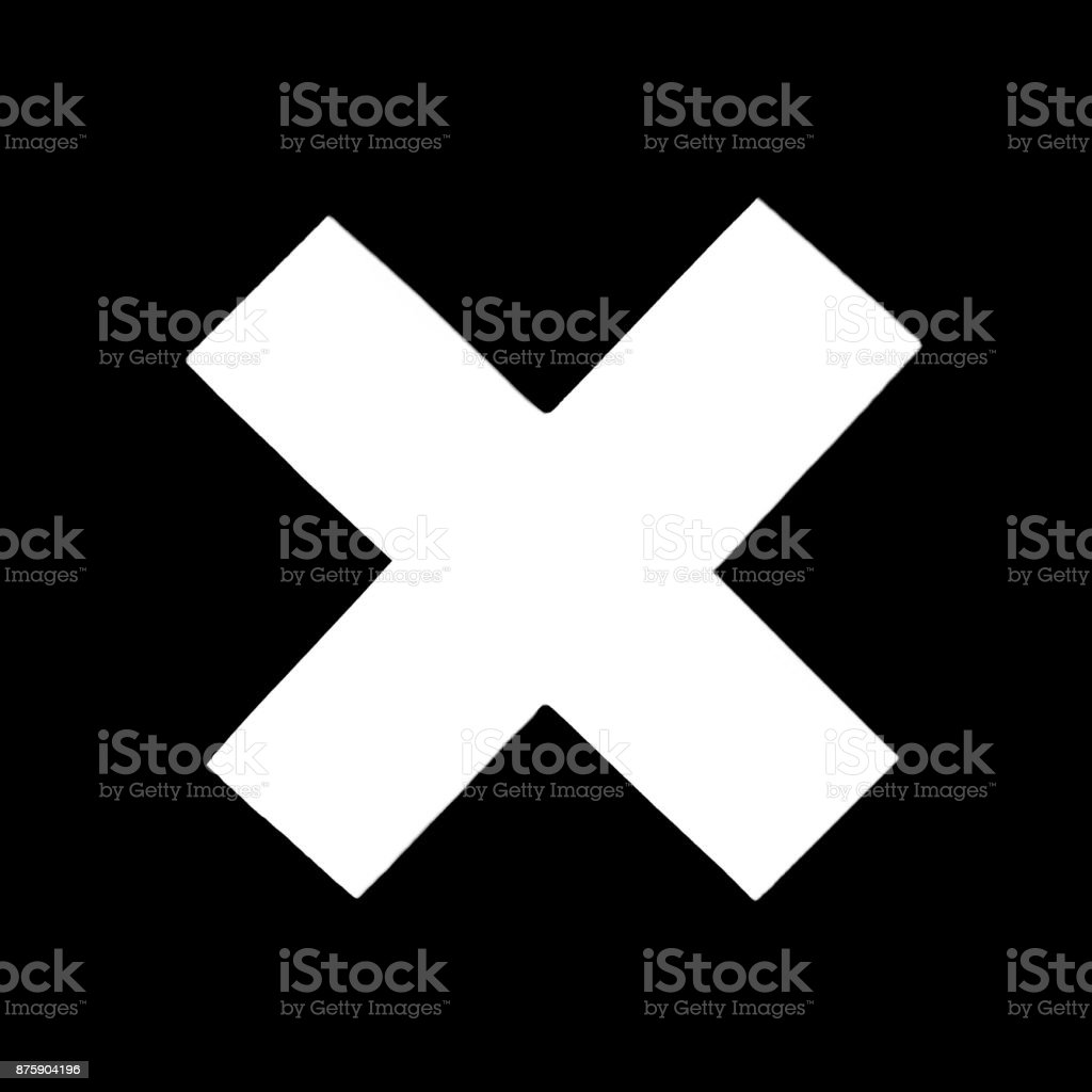 White of Delete button. Wrong mark icon, multiply icon sign. multiply icon symbol on black background stock photo
