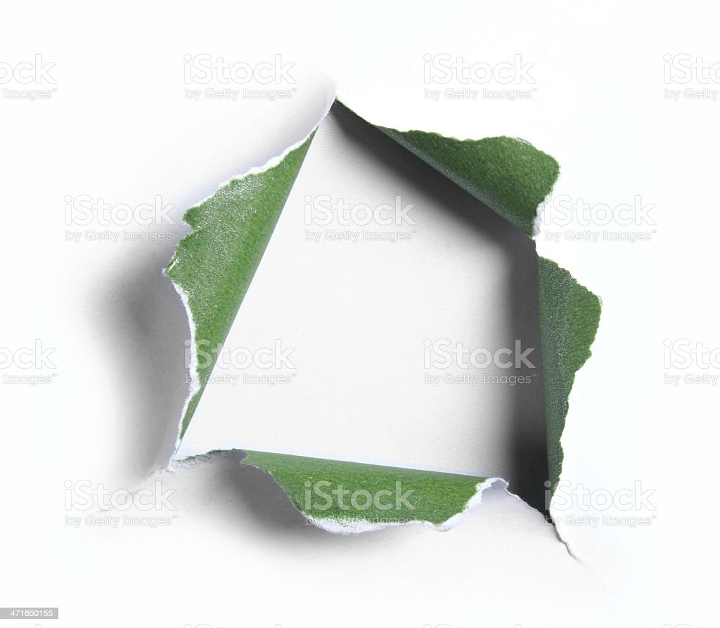 White of green torn paper with square shape stock photo
