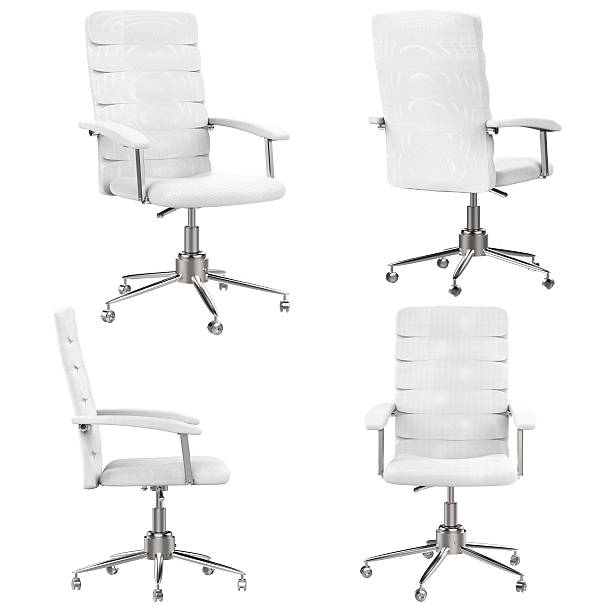 white office chair - chaise de bureau photos et images de collection