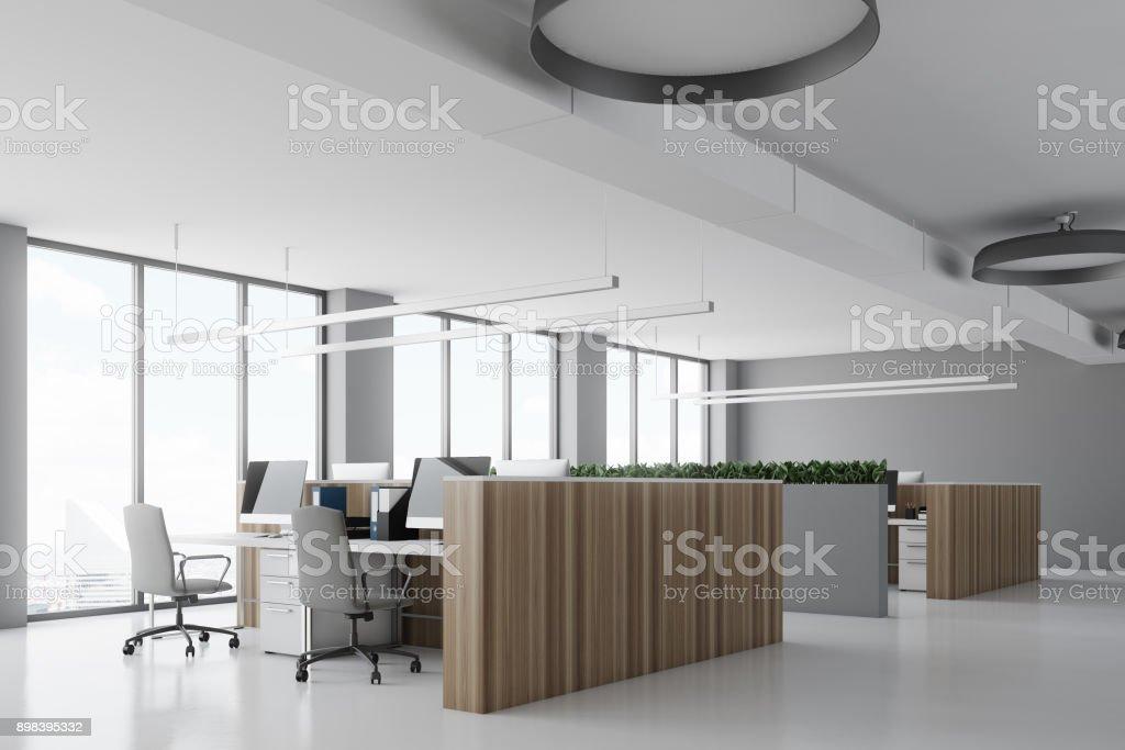 Photo de stock de béton de pupitres en bois coin bureau blanc images