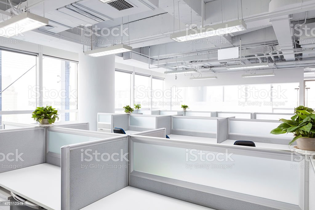 White Office Cubicle Design With Plants   Stock Image .