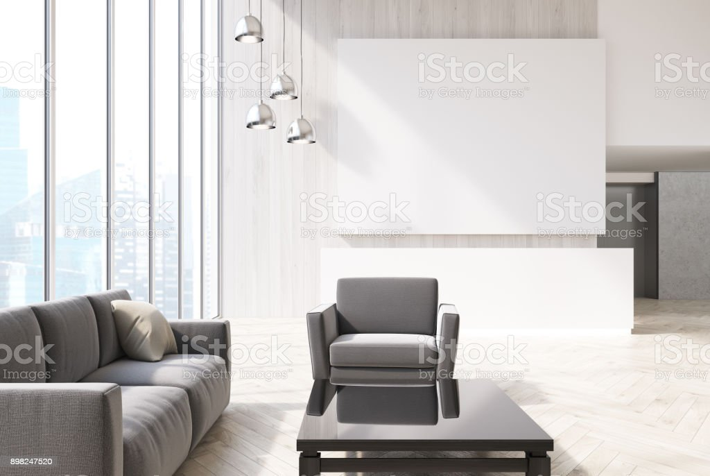 White office, gray armchairs, reception stock photo