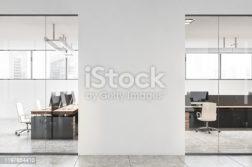 Interior of stylish office with white walls, concrete floor, wooden computer tables and mock up wall in the hall. 3d rendering