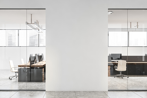 White office interior with mock up wall
