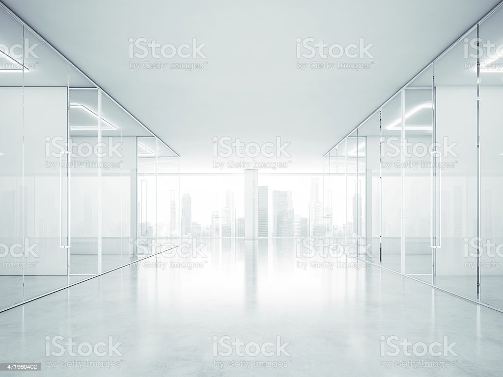 White office interior with panoramic windows. 3D rendering stock photo