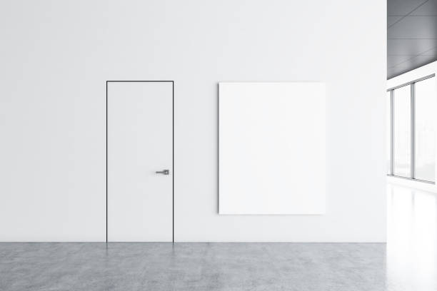 Lobby im weißen Büro mit Plakat – Foto