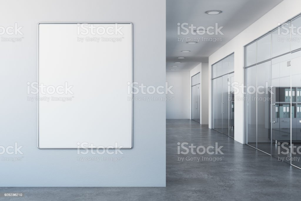 White office with empty billboard royalty-free stock photo