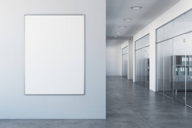 white office with empty billboard - poster stock pictures, royalty-free photos & images