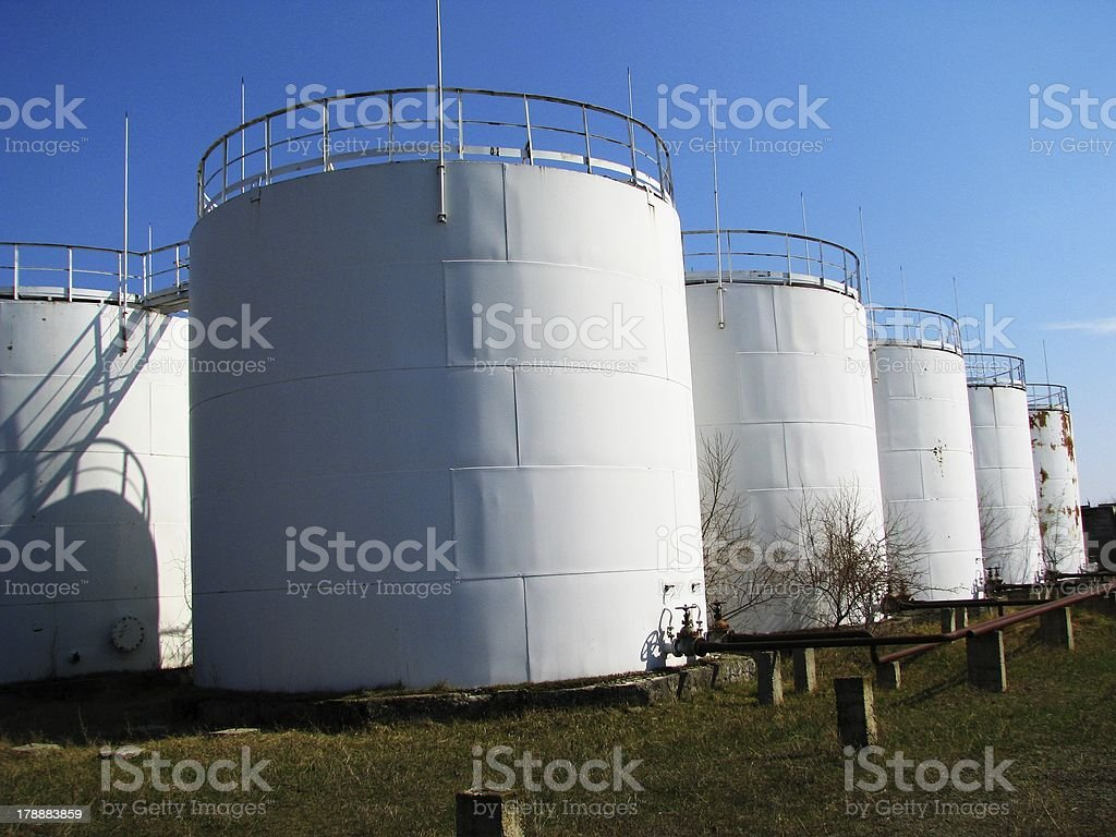 White oil storage tanks royalty-free stock photo