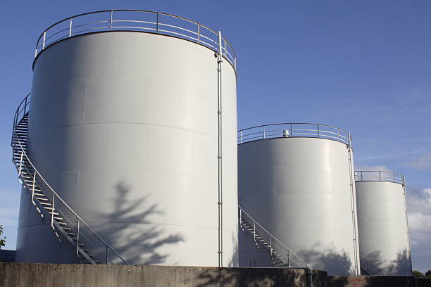 White oil tanks for storing fuel appear to be blank canvases White Fuel tanks pejft stock pictures, royalty-free photos & images