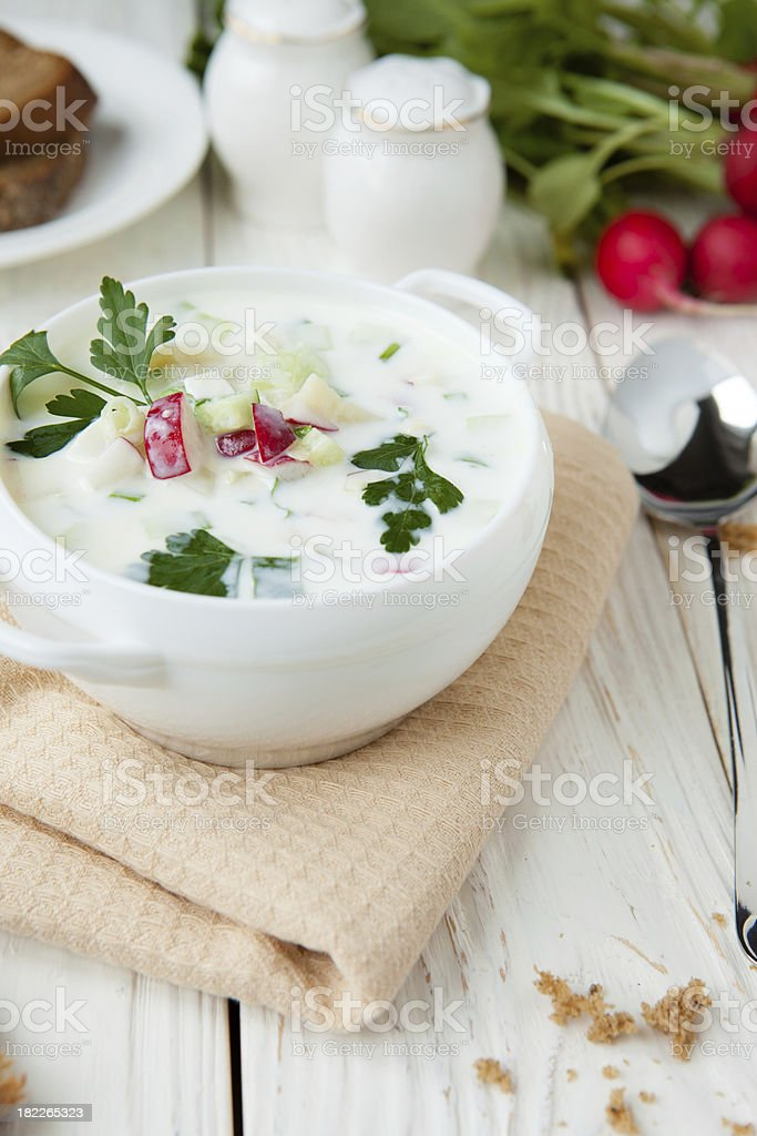 White Okroshka in  big tureen royalty-free stock photo