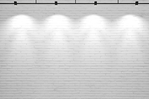 3d illustration. White old background brick wall with lamps. Mock up walls for a brand or logo.