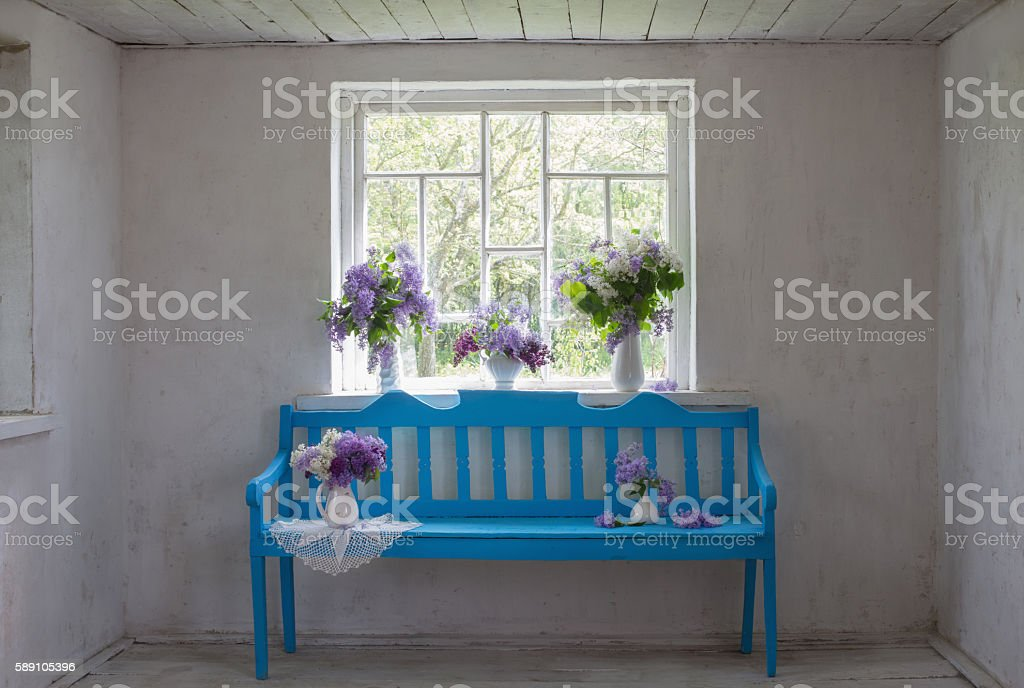 white old interior with blue bench stock photo