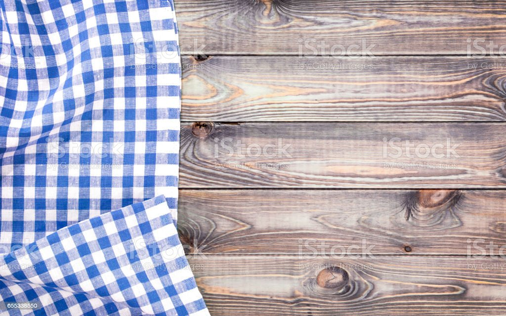 ... White Old Wooden Table With Blue Checkered Tablecloth, Top View With  Copy Space Stock Photo ...