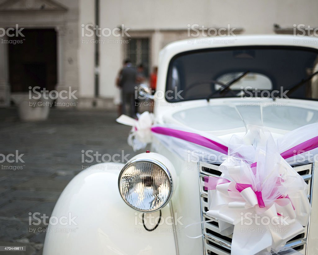 White oldtimer detail with bow stock photo
