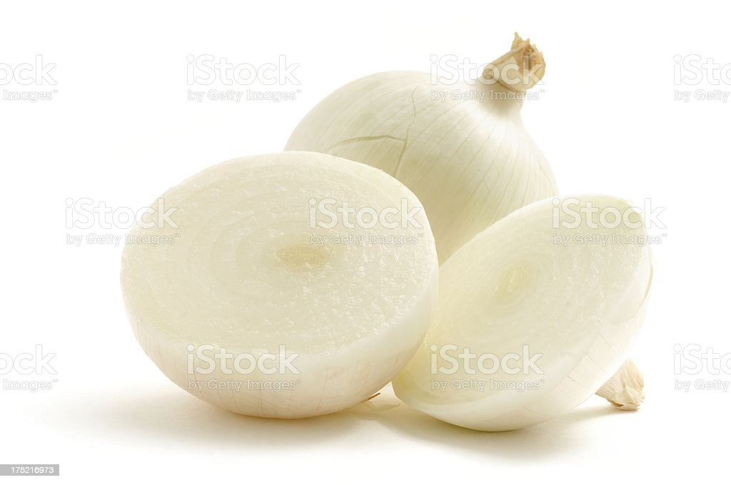 White onion and two halves stock photo