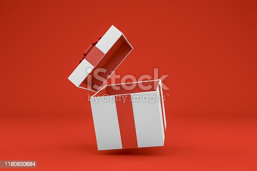 Aerial view 3d rendering of Gift Boxes. Minimal Christmas, Party concept. Open gift box. Red background.