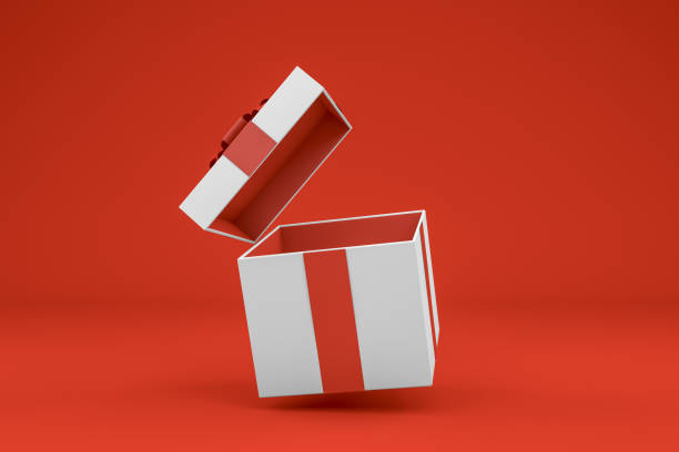 white open gift box with red ribbon minimal 3d design on red background - gift box imagens e fotografias de stock
