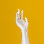 White open hand sculpture giving, holding, take or showing something gesture isolated on yellow background, 3d illustration,