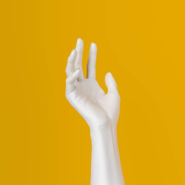 vit öppen hand skulptur ge, hålla, ta eller visa något gest isolerad på gul bakgrund, 3d illustration, - skulptur bildbanksfoton och bilder