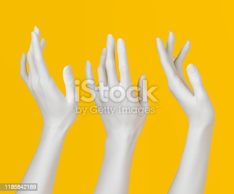 White open palm elegant gesture, set of female hand sculpture, art fashion concept, 3d rendering,