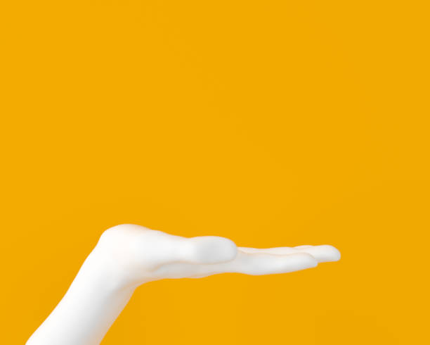 White open palm presenting gesture isolated on yellow background, female hand sculpture, art fashion concept, modern promo creative banner, 3d rendering, White open palm presenting gesture isolated on yellow background, female hand sculpture, art fashion concept, modern promo creative banner, 3d rendering, retail equipment stock pictures, royalty-free photos & images