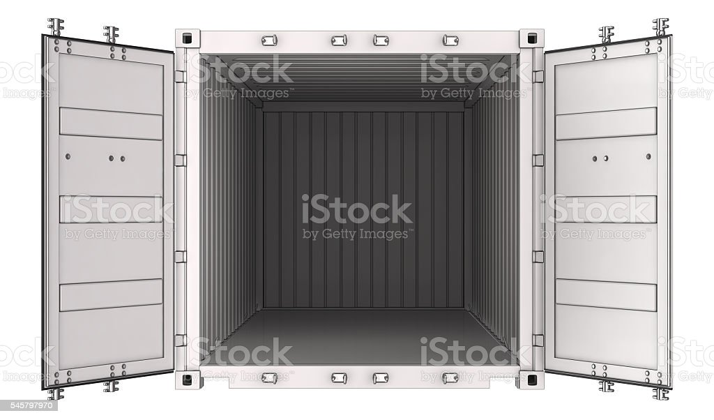 White open shipping container. stock photo