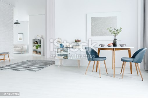 White open space apartment - dining and living room interior with modern design furniture and elegant decorations