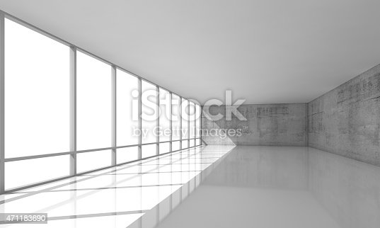istock White open space interior with windows and gray walls, 3d 471183690
