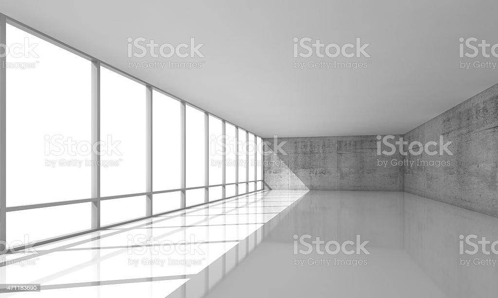 Weiße offene Interieur mit Fenster und Wände, 3d-Grau  – Foto