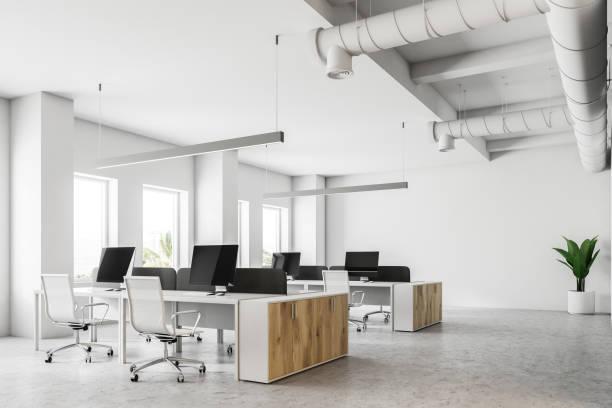 白のオープン スペースのオフィス コーナー - オフィスチェア ストックフォトと画像