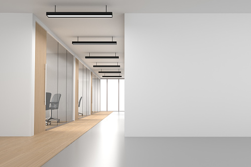 Open office space interior of modern company with rows of computer desks and meeting room. Empty wall and white windows for design needs. Easy to crop for all print and social media sizes.