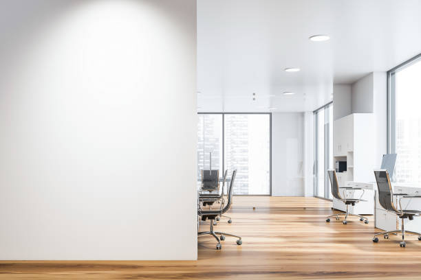 white open space office with mock up wall - wall foto e immagini stock