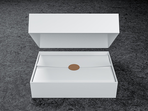 White opened Box Mockup with wrapping paper and golden sticker tag, 3d rendering