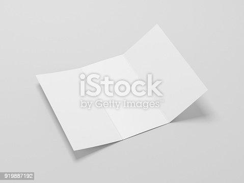 istock White Opened Leaflet Mockup on gray background 919887192
