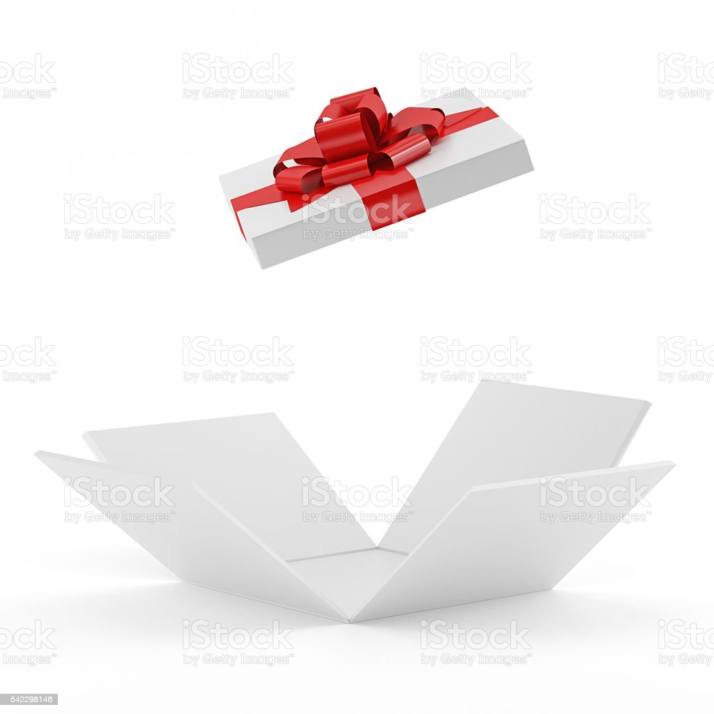 White Opening Gift Box stock photo