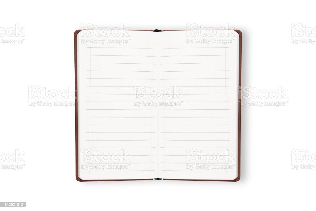 white opening notebook with brown cover stock photo