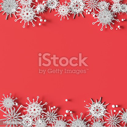 871072052 istock photo White openwork volumetric snowflakes on a pink background. Christmas 3D greeting card. 1185180509