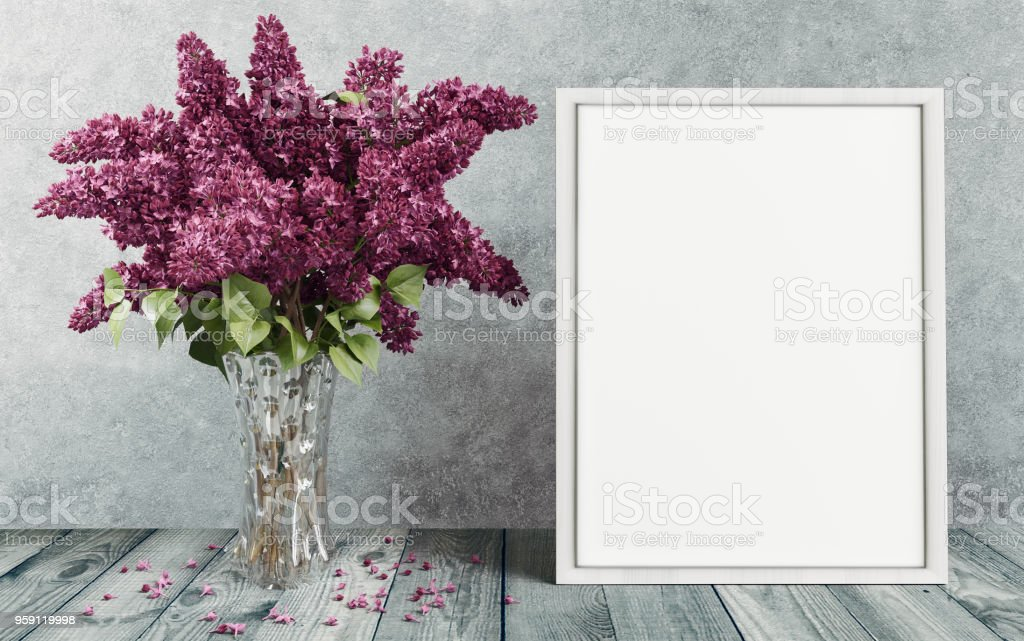White or empty photo frame with a flower vase, 3d illustration stock photo